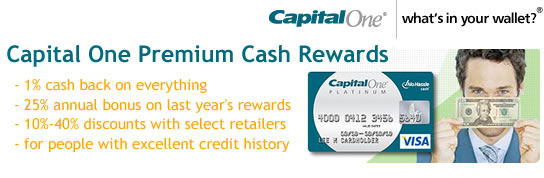 Capital One No Hassle Premium Cash Rewards Credit Card