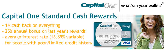 Capital One No Hassle Standard Cash Rewards Credit Card