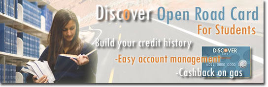 Build your credit history and save on gas with the Discover Open Road Student Credit Card!